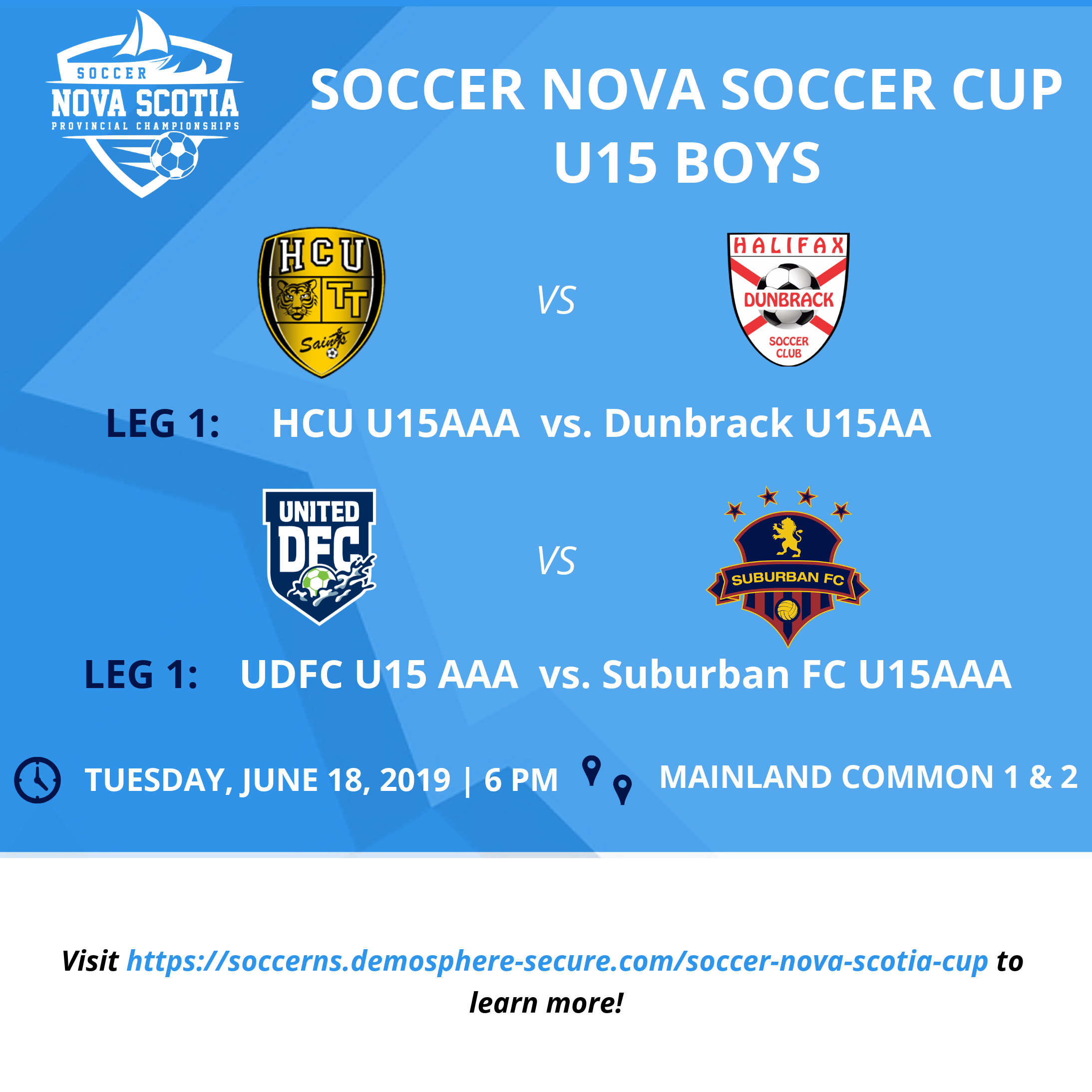 2019 Cup Competition kicks-off tonight with ROUND 1, LEG 1 -  U15 Boys