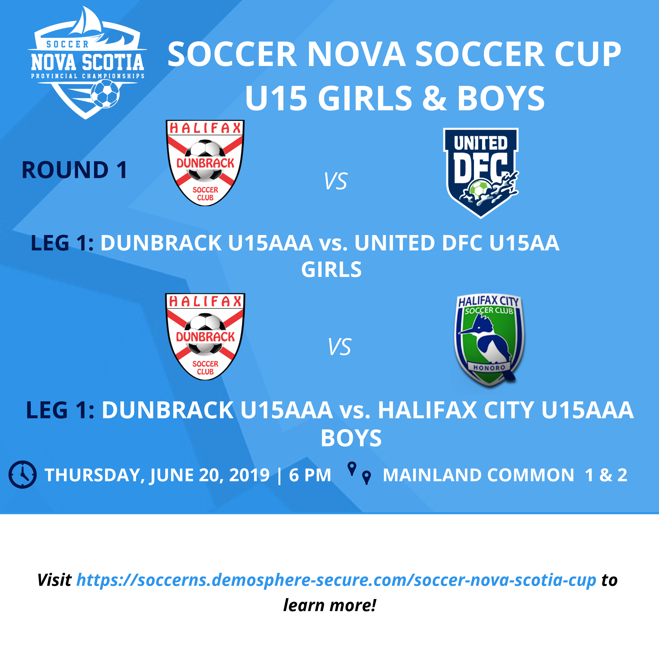 Day 2 of our 2019 Cup Competition with ROUND 1, LEG 1 for our U15 Boys & Girls